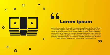 Black Bribe money cash icon isolated on yellow background. Money banknotes stacks. Bill currency. Vector