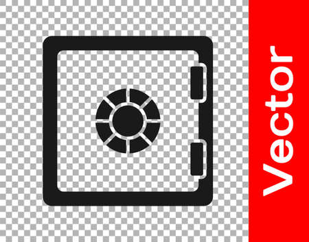 Black Safe icon isolated on transparent background. The door safe a bank vault with a combination lock. Reliable Data Protection. Vector