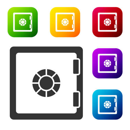 Black Safe icon isolated on white background. The door safe a bank vault with a combination lock. Reliable Data Protection. Set icons in color square buttons. Vector Ilustracja