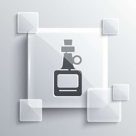 Grey Alcohol drink Rum bottle icon isolated on grey background. Square glass panels. Vector