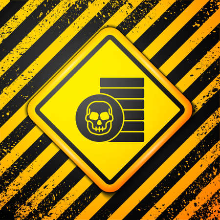Black Pirate coin icon isolated on yellow background. Warning sign. Vector Ilustracja