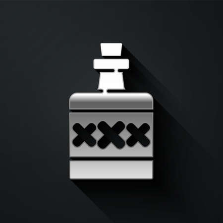 Silver Alcohol drink Rum bottle icon isolated on black background. Long shadow style. Vector