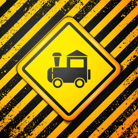 Black Toy train icon isolated on yellow background. Warning sign. Vector