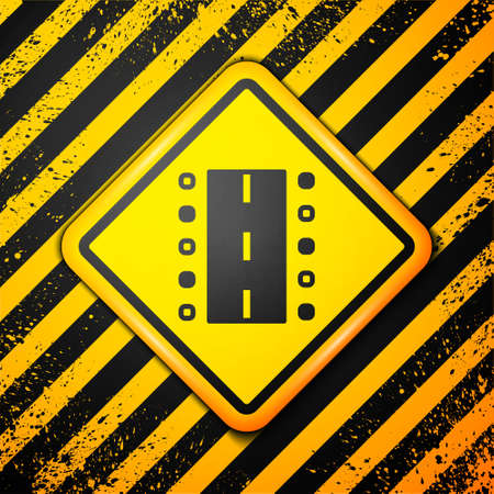 Black Airport runway for taking off and landing aircrafts icon isolated on yellow background. Warning sign. Vector Иллюстрация