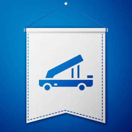 Blue Passenger ladder for plane boarding icon isolated on blue background. Airport stair travel. White pennant template. Vector