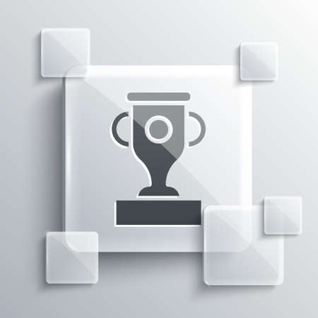 Grey Award cup icon isolated on grey background. Winner trophy symbol. Championship or competition trophy. Sports achievement sign. Square glass panels. Vector