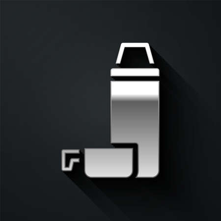 Silver Thermo container icon isolated on black background. Thermo flask icon. Camping and hiking equipment. Long shadow style. Vector