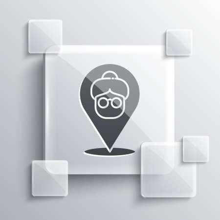 Grey Nursing home building icon isolated on grey background. Health care for old and sick people. Center for retired people. Square glass panels. Vector Векторная Иллюстрация