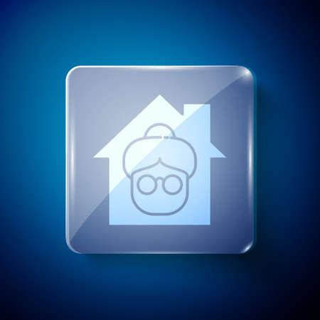 White Nursing home building icon isolated on blue background. Health care for old and sick people. Center for retired people. Square glass panels. Vector