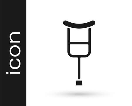 Black Crutch or crutches icon isolated on white background. Equipment for rehabilitation of people with diseases of musculoskeletal system. Vector Ilustracja