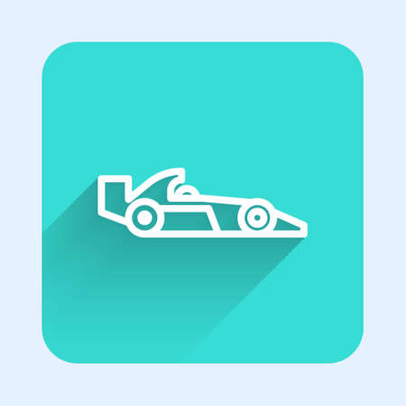 White line  racing car icon isolated with long shadow. Green square button. Vector Illustration