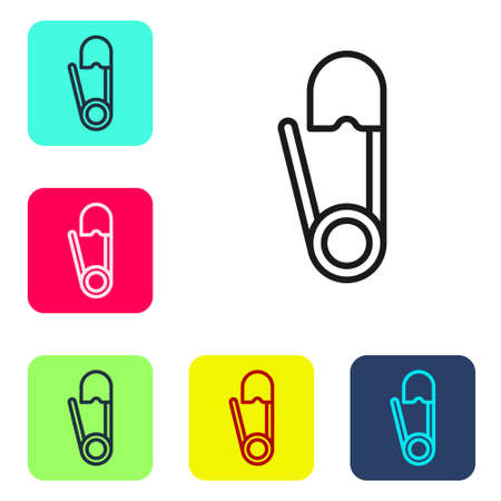 Black line Classic closed steel safety pin icon isolated on white background. Set icons in color square buttons. Vector Illustration  イラスト・ベクター素材
