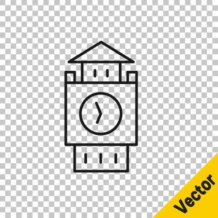 Black line Big Ben tower icon isolated on transparent background. Symbol of London and United Kingdom. Vector