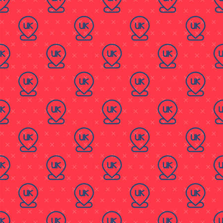 Blue line Location England icon isolated seamless pattern on red background. Vector