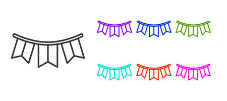 Black line Carnival garland with flags icon isolated on white background. Party pennants for birthday celebration, festival decoration. Set icons colorful. Vector