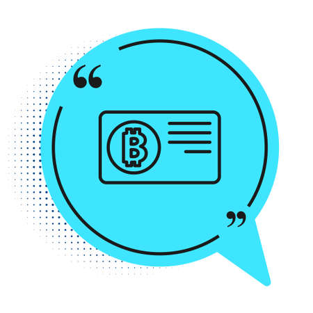 Black line Credit card with bitcoin icon isolated on white background. Online payment. Cash withdrawal. Modern method of payment. Blue speech bubble symbol. Vector