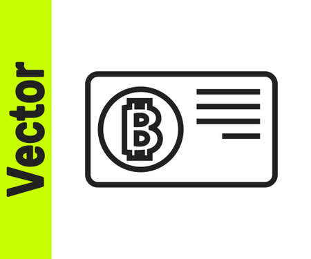 Black line Credit card with bitcoin icon isolated on white background. Online payment. Cash withdrawal. Modern method of payment. Vector