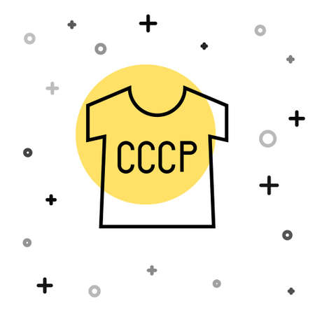 Black line USSR t-shirt icon isolated on white background. Random dynamic shapes. Vector