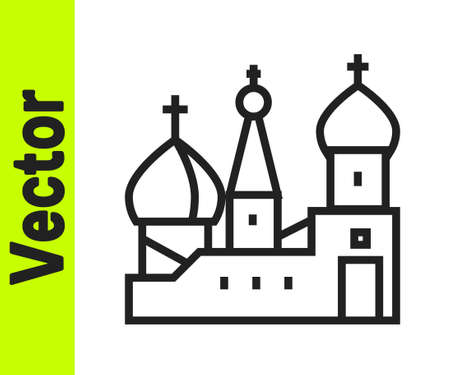 Black line Moscow symbol - Saint Basils Cathedral, Russia icon isolated on white background. Vector Иллюстрация