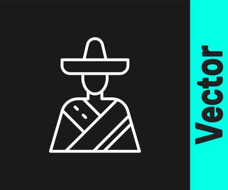 White line Mexican man wearing sombrero icon isolated on black background. Hispanic man with a mustache. Vector