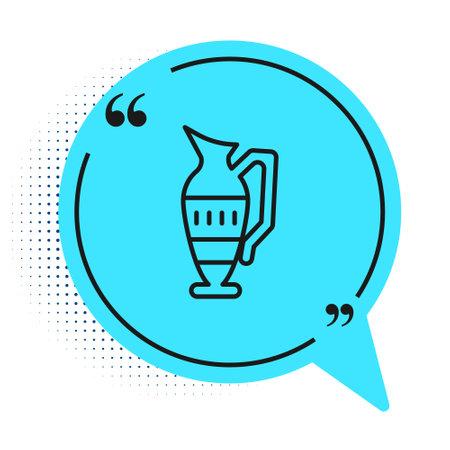 Black line Ancient amphorae icon isolated on white background. Blue speech bubble symbol. Vector Ilustración de vector