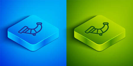 Isometric line Hunting horn icon isolated on blue and green background. Square button. Vector