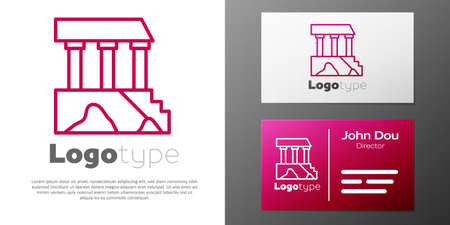 Logotype line Parthenon from Athens, Acropolis, Greece icon isolated on white background. Greek ancient national landmark.