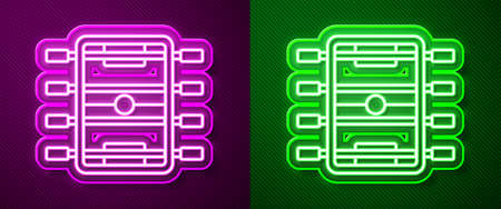 Glowing neon line Hockey table icon isolated on purple and green background. Football table. Vector