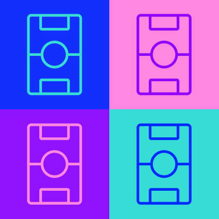 Pop art line Football table icon isolated on color background. Hockey table. Vector
