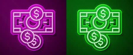 Glowing neon line Stacks paper money cash and coin money with dollar symbol icon isolated on purple and green background. Money banknotes stacks. Vector