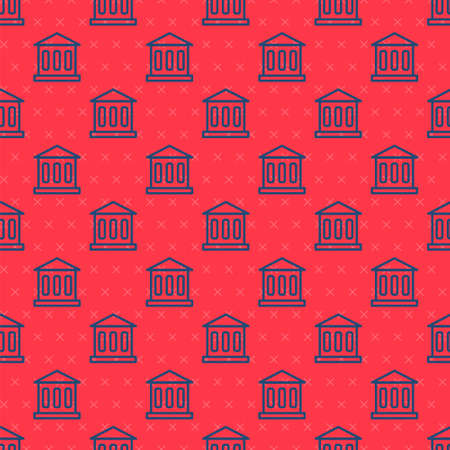 Blue line Bank building icon isolated seamless pattern on red background. Vector