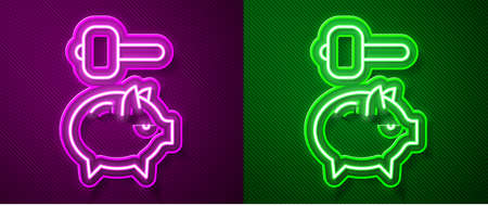 Glowing neon line Piggy bank and hammer icon isolated on purple and green background. Icon saving or accumulation of money, investment. Vector