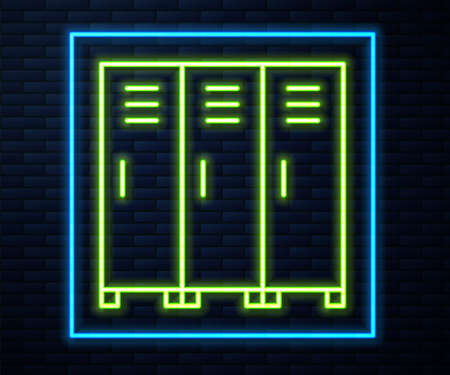 Glowing neon line Locker or changing room for hockey, football, basketball team or workers icon isolated on brick wall background. Vector Ilustracja