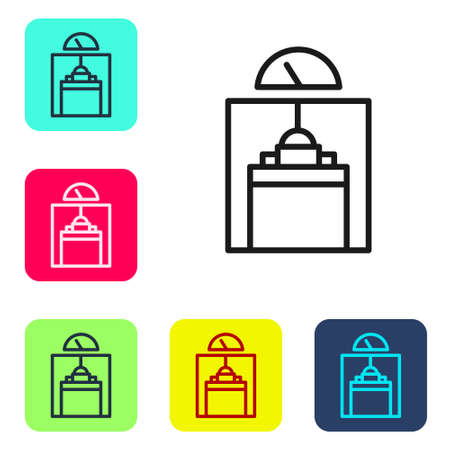 Black line Lift icon isolated on white background. Elevator symbol. Set icons in color square buttons. Vector  イラスト・ベクター素材