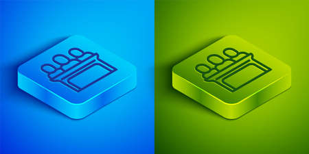 Isometric line Jurors icon isolated on blue and green background. Square button. Vector