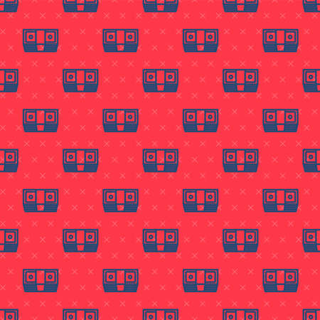 Blue line Bribe money cash icon isolated seamless pattern on red background. Money banknotes stacks. Bill currency. Vector Ilustracja