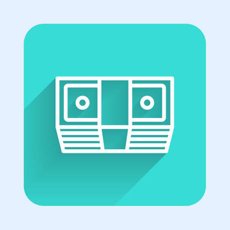 White line Bribe money cash icon isolated with long shadow. Money banknotes stacks. Bill currency. Green square button. Vector