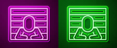 Glowing neon line Prisoner icon isolated on purple and green background. Vector