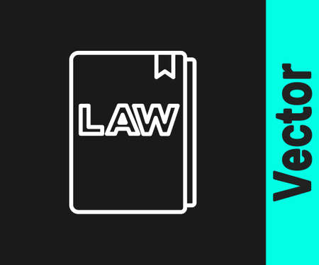 White line Law book icon isolated on black background. Legal judge book. Judgment concept. Vector