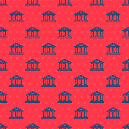Blue line Courthouse building icon isolated seamless pattern on red background. Building bank or museum. Vector Ilustracja