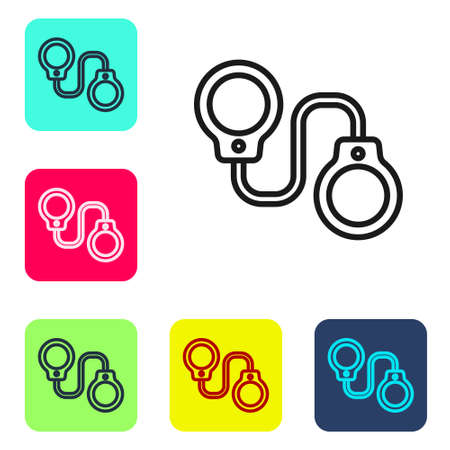 Black line Handcuffs icon isolated on white background. Set icons in color square buttons. Vector
