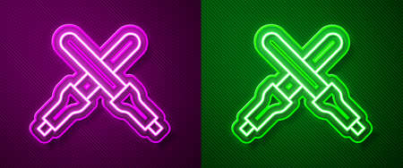 Glowing neon line Marshalling wands for the aircraft icon isolated on purple and green background. Marshaller communicated with pilot before and after flight. Vector