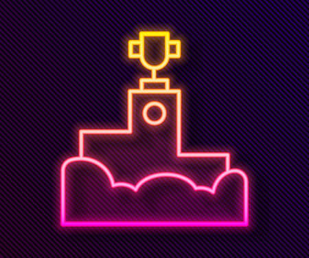 Glowing neon line Award over sports winner podium icon isolated on black background. Vector