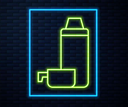 Glowing neon line Thermo container icon isolated on brick wall background. Thermo flask icon. Camping and hiking equipment. Vector  イラスト・ベクター素材