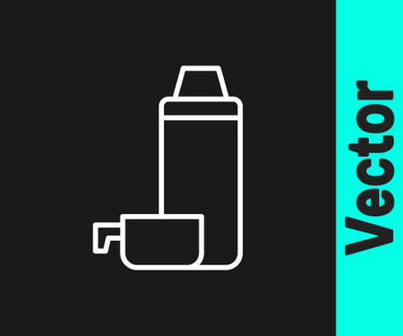 White line Thermo container icon isolated on black background. Thermo flask icon. Camping and hiking equipment. Vector