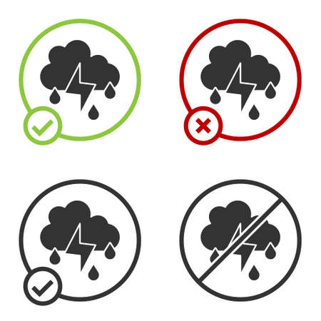Black Cloud with rain and lightning icon isolated on white background. Rain cloud precipitation with rain drops.Weather icon of storm. Circle button. Vector