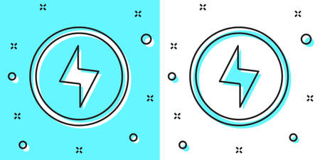 Black line Lightning bolt icon isolated on green and white background. Flash sign. Charge flash icon. Thunder bolt. Lighting strike. Random dynamic shapes. Vector Ilustração