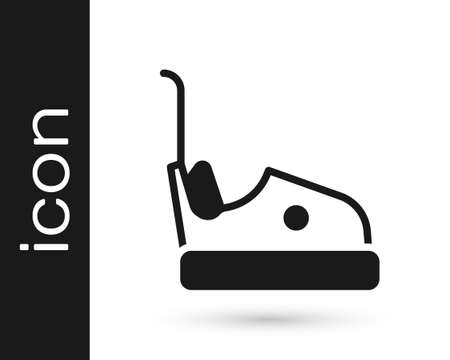 Black Bumper car icon isolated on white background. Amusement park. Childrens entertainment playground, recreation park. Vector