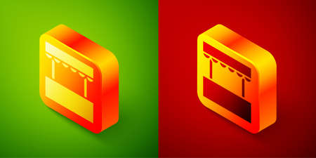 Isometric Ticket box office icon isolated on green and red background. Ticket booth for the sale of tickets for attractions and sports. Square button. Vector