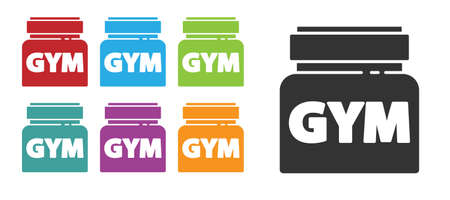 Black Sports nutrition bodybuilding proteine power drink and food icon isolated on white background. Set icons colorful. Vector